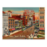 Calle principal - búfalo, postal del vintage de NY
