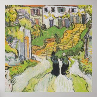 Calle y escaleras del pueblo en Auvers con las Póster