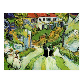 Calle y pasos del pueblo en Auvers de Van Gogh Postal