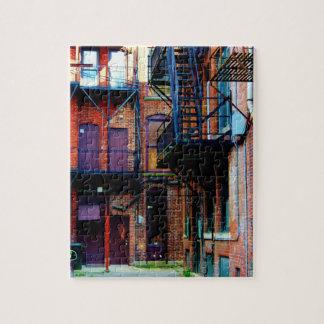 Callejón colorido en el rompecabezas de Oneonta NY