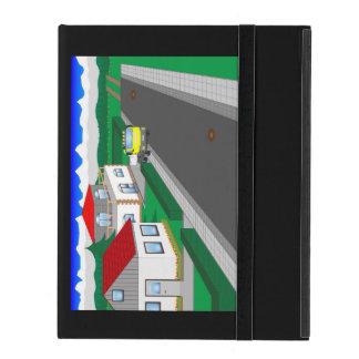 Calles y construcción de casa iPad carcasas