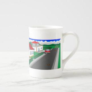 Calles y construcción de casa taza de té