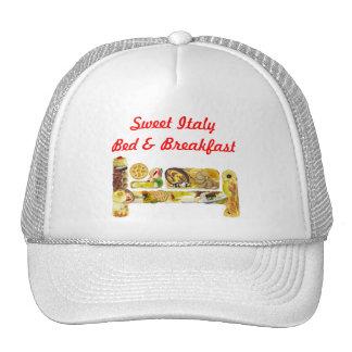 Cama del gorra y plantilla promocional del desayun