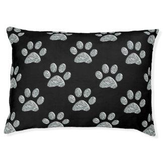 Cama del perro - Lt Silver Bling Paw Prints