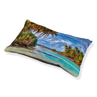 Cama Para Mascotas Acuarela hawaiana de la playa del verano bonito