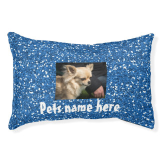 Cama Para Mascotas Almohada azul del mascota del brillo (su nombre y