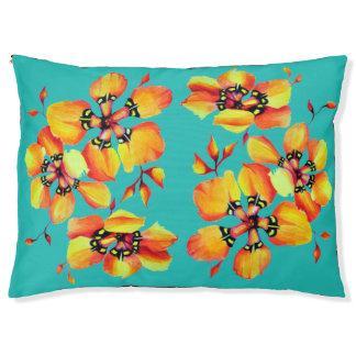 Cama Para Mascotas Flores anaranjadas elegantes - aguamarina