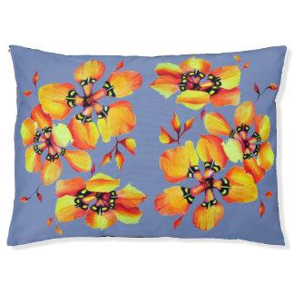 Cama Para Mascotas Flores anaranjadas elegantes - gris azul