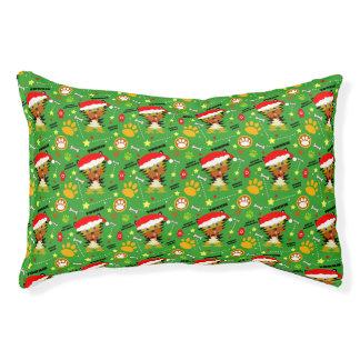 Cama Para Mascotas Navidad verde y rojo Yorkie