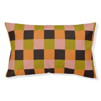 Cama Para Mascotas Tela escocesa rosada anaranjada del verde del