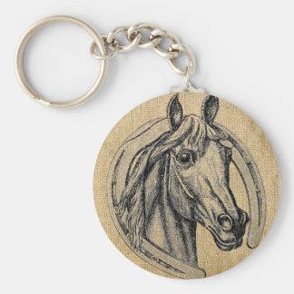 Camafeo del caballo en la arpillera llavero redondo tipo chapa