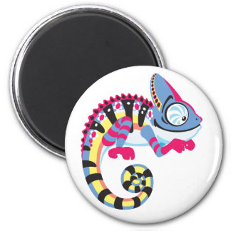 camaleón del dibujo animado imán redondo 5 cm