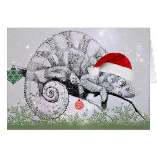 Camaleón del navidad en un gorra de Santa Tarjeta De Felicitación