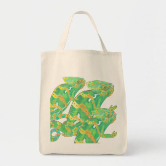 Camaleón dentro de un bolso del camaleón