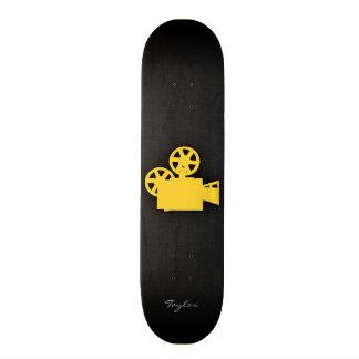 Cámara de película ambarina amarilla tabla de patinar