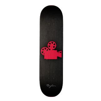 Cámara de película del rojo carmesí patineta personalizada