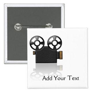 Cámara de película en negro y oro en blanco chapa cuadrada