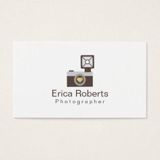 Cámara linda del fotógrafo con fotografía del amor tarjeta de visita