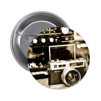 Cámara vieja de la foto chapa redonda 5 cm
