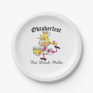 Camarera de Oktoberfest Plato De Papel