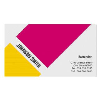 Camarero - amarillo rosado simple tarjetas de visita