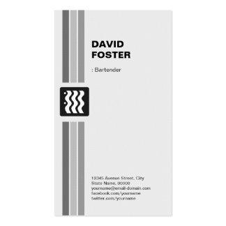 Camarero - blanco negro moderno tarjeta de visita