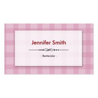 Camarero - cuadrados rosados bonitos tarjetas de visita
