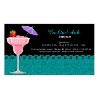 Camarero del cóctel tarjetas de visita