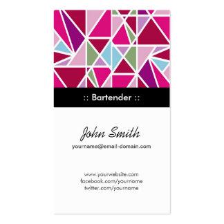 Camarero - geometría abstracta rosada tarjetas de visita