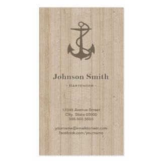 Camarero - madera náutica del ancla tarjetas de visita