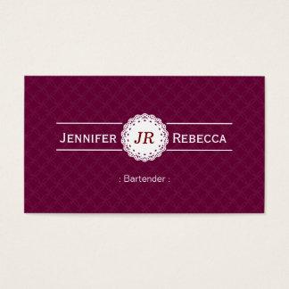 Camarero - púrpura moderna del monograma tarjeta de negocios