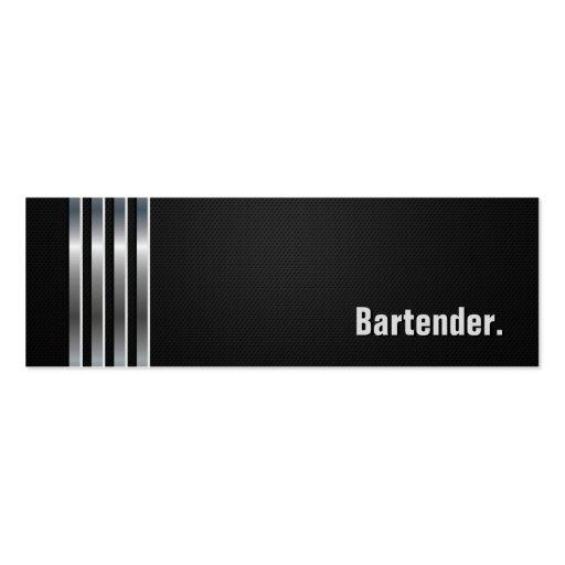 Camarero - rayas de plata negras tarjetas de visita