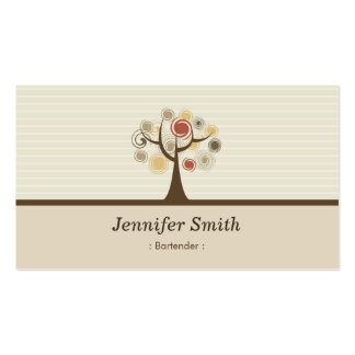 Camarero - tema natural elegante tarjetas de visita