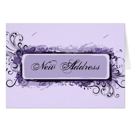 Cambio de dirección floral abstracto púrpura tarjeta pequeña