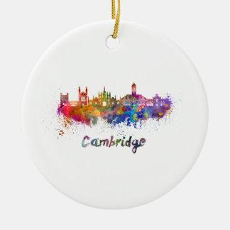 Cambridge skyline in watercolor adorno de cerámica