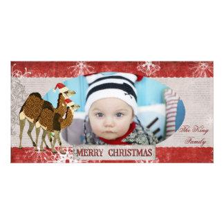 Camellos festivos rojos y tarjeta de plata de la f tarjeta personal con foto