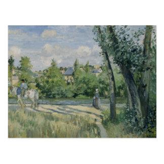 Camille Pissarro - luz del sol en el camino, Postal