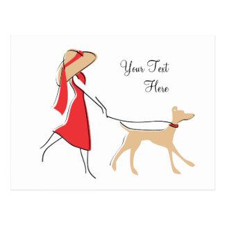 Caminante elegante del perro postal