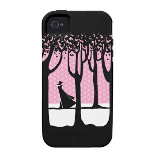 Caminante solo en maderas del invierno Case-Mate iPhone 4 funda