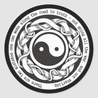 Camino a la verdad Yin Yang Pegatina Redonda