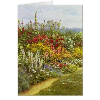 Camino de la hierba y de la flor tarjeta de felicitación