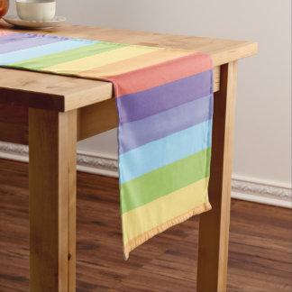 Camino De Mesa Corto El arco iris en colores pastel raya orgullo gay