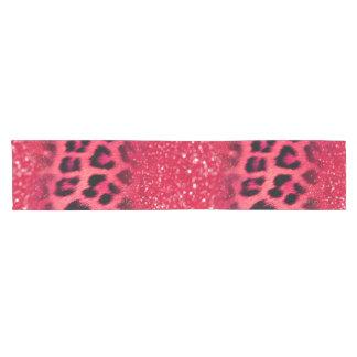 Camino De Mesa Corto Falsos puntos rosados del leopardo del purpurina