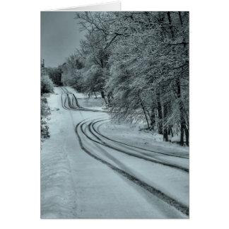Camino del invierno tarjeta de felicitación