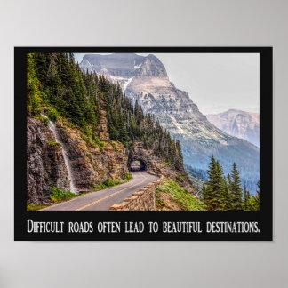 Caminos difíciles - destinos hermosos - poster póster