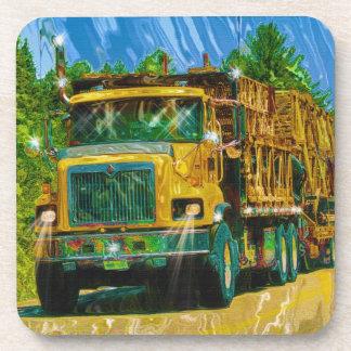 Camión amarillo rojo grande para los camioneros y  posavaso
