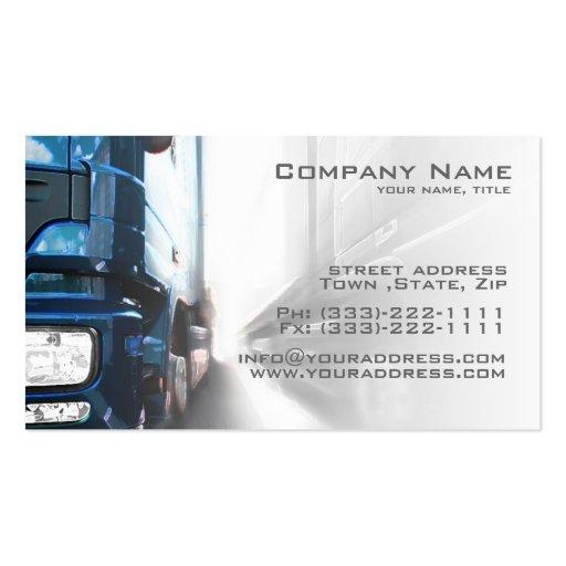 Camión azul - tarjeta del transporte y de la tarjetas de visita