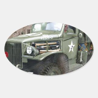 Camión de ejército americano WW2 Pegatina Ovalada