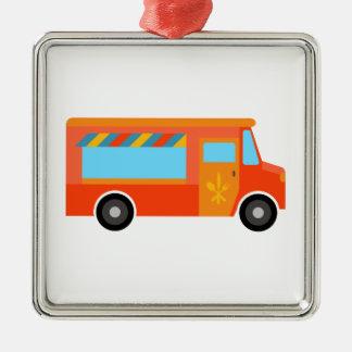 Camión de la comida adorno cuadrado plateado