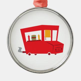 Camión de la comida adorno redondo plateado